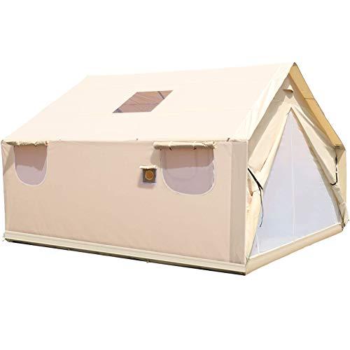 VEVOR Luxus Outdoor Zelt 3,7 x 4,3 m, Wasserdicht Vier Jahreszeiten Familienzelt für 6-10 Personen, Baumwolle Segeltuch Yurt Glocke Zelt mit Moskitonschutztür und Fenster