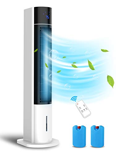 """LifePlus Evaporative Air Cooler, 41"""" Portable Air Cooler with Top & Bottom Water Refilling Design, Swamp Cooler and Humidifier for Room, 50° Oscillation, 3 Speed and 3 Wind Type, Remote Control, 12H Timer"""