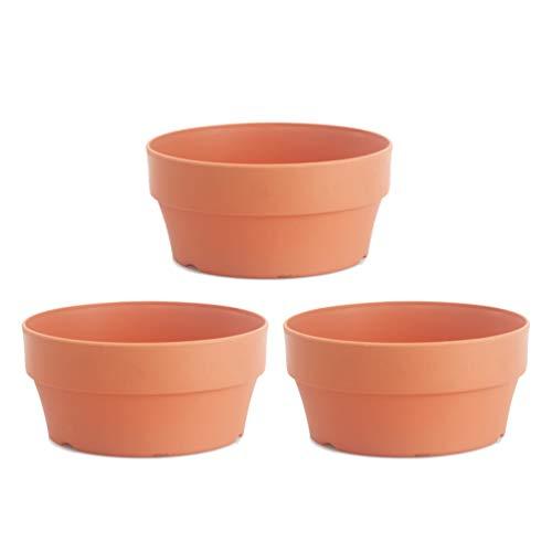 DOITOOL 3 macetas de plástico para arcilla, macetas, flores de cactus suculentas, jarrones con orificio de drenaje grande para plantas artesanales, color naranja 18