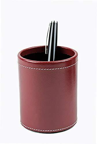 DELMON VARONE - Stifteköcher aus Cambridge Top Grain Leder rot, Echtleder Stiftebecher mit PU Innenverkleidung und rutschfester Vliesunterseite, Edler Stiftehalter rund für Schreibtisch und Büro