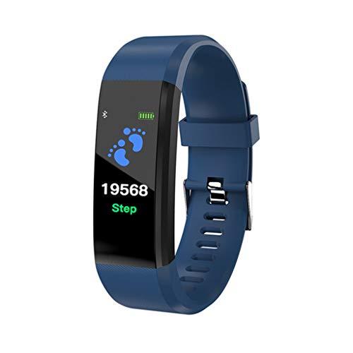 xutu Monitores de Actividad Heart Rate Pulsera multifunción Inteligente USB y la presión Arterial de Control Deportivo Reloj podómetro rastreador de Ejercicios for Hombres y Mujeres (Color : Blue)