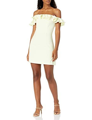 French Connection Women's Whisper Light Ruffle Dress, Lemon, 6
