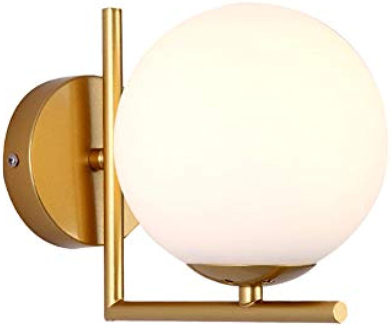 CSDM.AI Sphrische Wandleuchte Post-Modern Minimalistisches Stil Schlafzimmer-Restaurant Aisle Light Gold Iron Frame Glasdeckel Wand Lampe Gre 15 × 18Cm