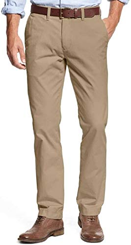 Tommy Hilfiger Mens Tailored Fit Chino Pants Masters Mallet Khaki (38W x 34L)