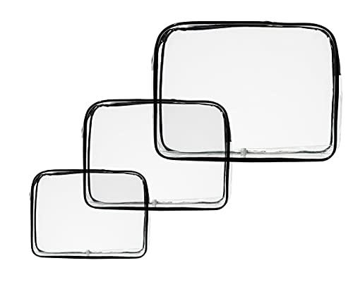 Bolsa de Maquillaje Transparente,3 PCS Bolsa de Aseo PVC Maquillaje Bolsa con Cremallera Portátil Bolsa de para Hombres Mujeres Baño de Negocios 3 Tamaños