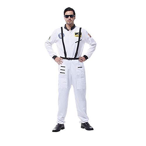 Proumhang Disfraz de Astronauta Adulto para Hombre piloto Astronauta Adulto Halloween Cosplay Fiesta de Carnaval-Blanco,L