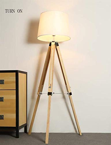 HYY-YY Vloerlampen Houten Drie Voeten Vertical Creative Retro Doek Shade Floor Lights for Living Room Study Lamp inbegrepen