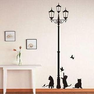 comprar comparacion Vinilo decorativo pegatina pared, cristal, puerta (Varios colores a elegir)- gatos debajo de la farola