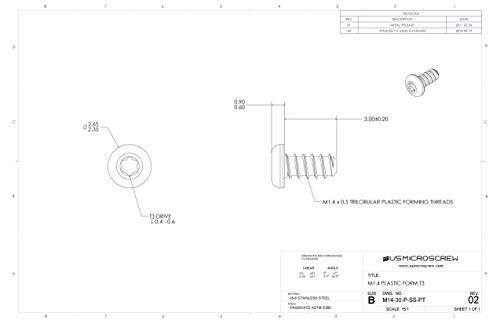 M1.4 X 3mm Plastic Thread Forming Screw Stainless Steel Pan Head 6-Lobe Drive (100 Pcs) - M14-30-P-SS-PT