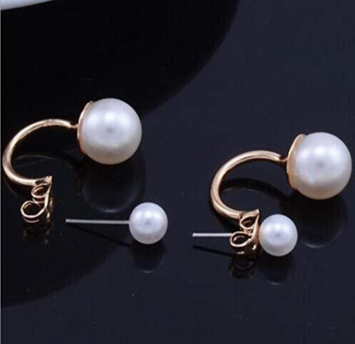 WDam Joyería de Oreja de Moda Modelos de Estrella de Doble Cara Pendientes de Bola de Perlas simuladas de imitación Pendiente de botón de Color Plateado Dorado para Mujeres-Chapado en Oro
