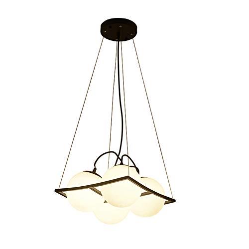 CSDM.AI Lámpara Colgante Blanca Pantalla Cuadrada Lámpara Esférica Cuerpo Araña Estilo Creativo para Dormitorio Estudio Lámparas De Comedor (4 Cabezas)