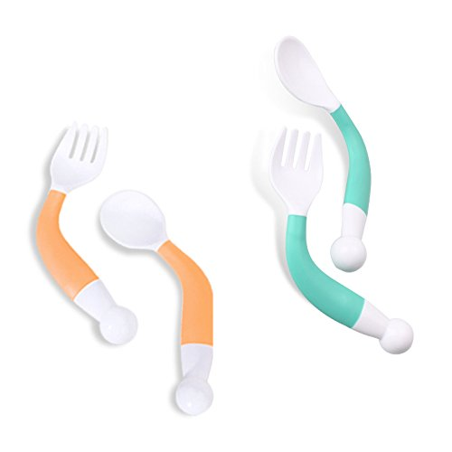 Reusable Baby Food Squeeze Pouch Spoon (2 Sets Green & Orange)