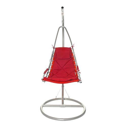KASANOVA Poltrona a Dondolo Sospesa con Braccio in Metallo - Dondolo con Seduta Oscillante - 1 Seduta - 90x192x90 cm - Portata max: 90 kg - Colore Rosso