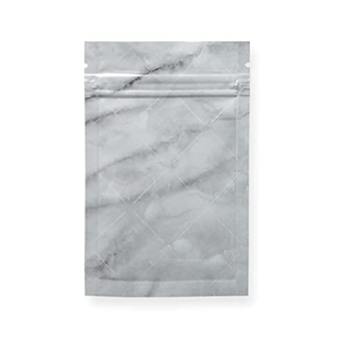 Bolsas de papel de aluminio 100 piezas Patrón de mármol brillante del arco iris Papel de aluminio Bolsa de espinillas de Mylar Recuperar Cremallera plana Bolsas en bucle Paquete de joyas Bolsas Almac