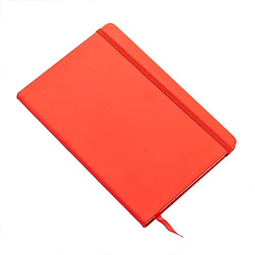 2 cuadernos A5 Soft Touch, sellos elásticos y marcadores de cinta de página, que contienen 100 hojas de papel Dolin de 80 g, color naranja 21,5 x 14,8 cm