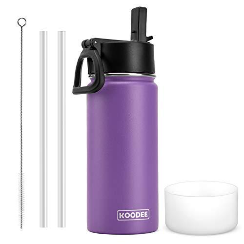 koodee Bottiglia Termica Acciaio Inox, Borraccia Termica Bambini 470ML , Bottiglia Acqua Isolamento Sottovuoto Senza BPA, a Prova di perdite, Senza BPA