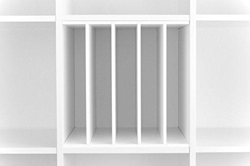 Ikea Kallax Expedit Regal Einsatz Schallplatten Aufbewahrung Schallplattenregal Vinyl Regaleinsatz vertikale Regalteilung auch für Bücher Fachteiler für 5 Einzelfächer 33,5 x 33,5 x 38 cm Weiß