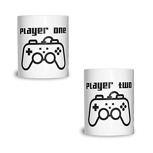 Paquete de 2 tazas de té a juego para jugador, uno y dos hermosas, elegantes y duraderas, tazas garantizadas que te gustan 11 onzas