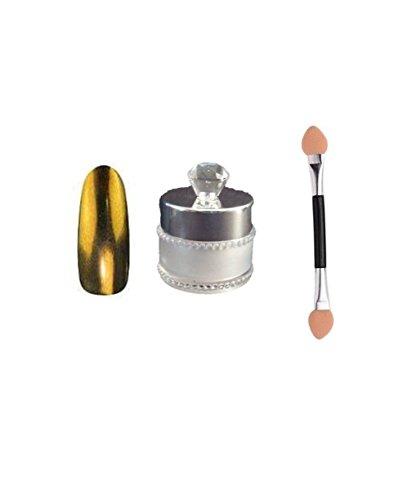 Chrome Poudre pour ongles, effet miroir gratuit de poudre pour nail art avec éponge Brosse Doré foncé 6 G