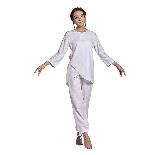 JFFFFWI Tuta Tai Chi Tradizionale Cinese Abbigliamento Tai Chi Donna , Uomo Donna Uniforme per Arti Marziali Abbigliamento Kung Fu Abbigliamento Tai Chi in Cotone Tuta con Maniche a Tre Quarti, Bian