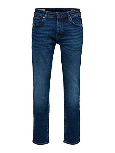 SELECTED HOMME Herren SLHSTRAIGHT-Scott 6212 MB SU-ST JNS NOOS Jeans, Medium Blue Denim, 36/34