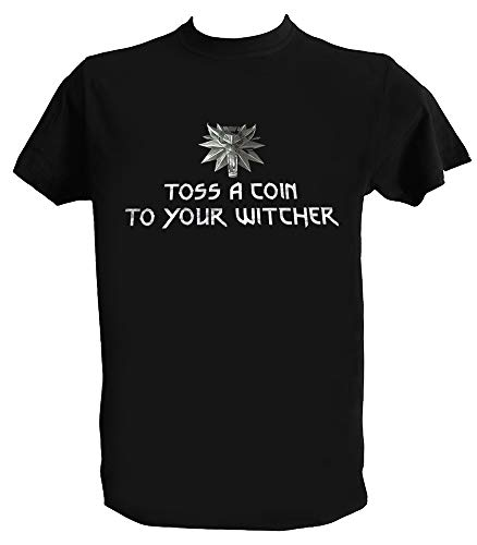 Desconocido Camiseta Geralt de Rivia Hombre Niño Toss a Coin To Your Witcher Lobo Series TV, Niño 3-4 Años