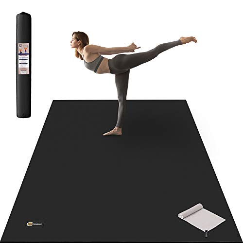 CAMBIVO Large Yoga Mat - 6' x 4' x 1/3 inch Extra Thick & Comfortable, Non-Slip, Barefoot Exercise Mat - Yoga, Stretching, Cardio Workout Mats for Home Gym Flooring (183cm x 122cm x 8mm)(Black)
