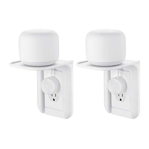 Wasserstein AC Outlet Mount for Google Nest WiFi - Perfect Wall Outlet Shelf for Google Home, Nest Mini & Nest Hub, Dot 1st, 2nd & 3rd Speaker, Sonos One, Smartphones and Other Electronics (2-Pack)