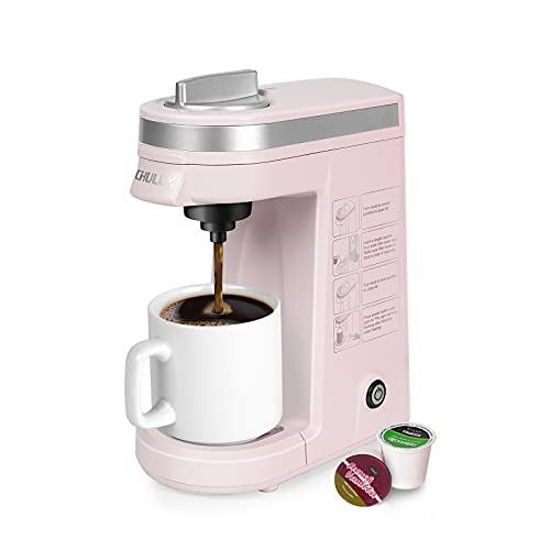 CHULUX Single Serve Coffee Maker,One Button Operation with Auto Shut-Off for Coffee and Tea with 5 to 12 Ounce,Pink
