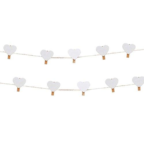 Foto-lijn met hart-knijpers van hout in rustieke stijl/bruiloft decoratie/accessoire bruiloft/decoratie bruiloft/slinger