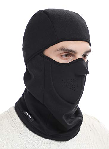 KSKG Balaclava Mask Winter Windproof Fleece Thermal Full Face Ski and Neck Warmer for Motorcycle Cycling Black