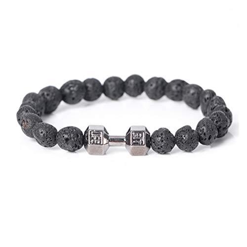 JINGGEGE Jengijo Moda DIY Strand Lava Beads Pulsera Deportiva Mancuerna Marca Braiding Macrame Men's Sporty Bracelet. (Metal Color : Black)