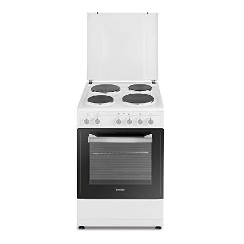 Simfer SMF-FS 3005 Standherd | 50 x 55 cm | Elektrokochfeld | 3 Funktionen | 4 Kochplatten | Herdabdeckung Metall | 2 Jahre Garantie