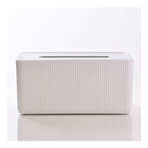 Dispensador de toallas Bombeo simple del hogar caja de pañuelos con la tapa de caja del tejido de la sala dormitorio caja del tejido rayado blanco caja del tejido de almacenamiento caja de pañuelos