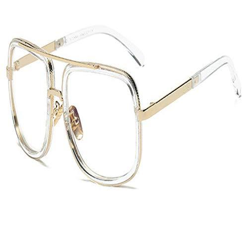 Alexny Gafas de Sol, Gafas de Sol con Montura Grande, Gafas de Sol cuadradas de Metal para Hombre, Gafas de Sol Retro para Mujer