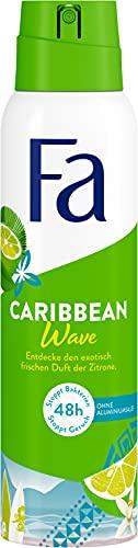 Fa Deospray Caribbean Wave mit dem exotisch frischen Duft der Zitrone, 48h Schutz, 150 ml