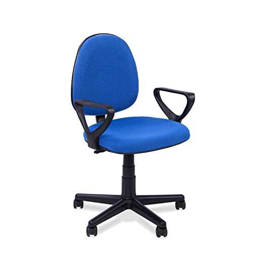 Danfer, Silla de Escritorio, Silla de Oficina o Despacho, Acabado en Azul, Medidas: 54 cm (Ancho) x 54 cm (Fondo) x 79-91 cm (Alto)