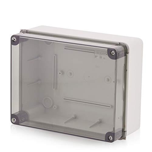 Aufputz Installationsgehäuse, Abzweigkasten Kunststoffgehäuse mit Schraube | 240x190x110mm | IP65 | Transparenter Deckel Verteilerkasten Leergehäuse Industriegehäuse, Abzweigdose, Schaltschrank