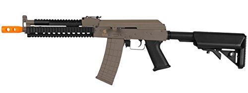 Lancer Tactical AK RIS AEG Metal Gear Electric Airsoft Rifle Gun - Dark Earth