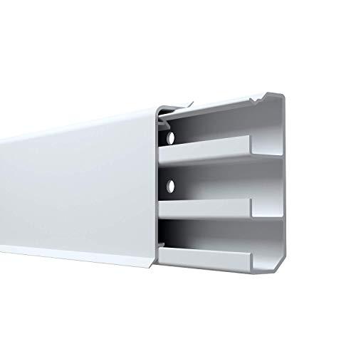 Cable Coach 6 m Sockelleiste aus PVC 20x70 mm mit integriertem Kabelkanal, Höhe: 70 mm, Farbe: Weiß (4 Stück Länge 1,5 m)