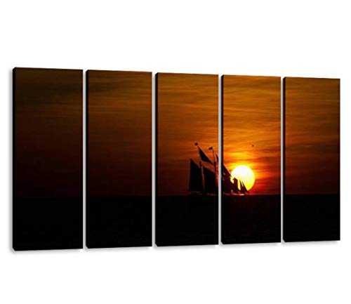 KiiAmy 5 Panels Art Wall Decor Sailboat Crossing Setting Sun on The Open Ocean Pirate Ship Sailing Artwork Modern Canvas Prints Office Bedroom Home Decor Framed Painting Ready to Hang (60''Wx32''H)