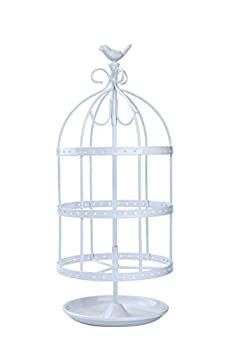 14.5  Tall Cute Bird Cage 4 Tiers Rotating Jewelry Organizer Earring Holder Stand Earring Tree Tabletop Metal Display Rack for Women and Girl - White
