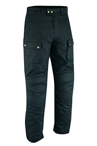 Mens Black Double Waxed Cotton Wax Motorcycle CE Armoured Waterproof Biker Motorbike Trouser Pants (W38 x L31)