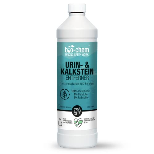 bio-chem Urinstein-Löser Gel 1000 ml Konzentrat inkl. Schrägdüse, Urinstein-Entferner extra stark, Kalk-Entferner/Kalk-Löser, WC-Reiniger, Abfluss-Reiniger, Rohrreiniger