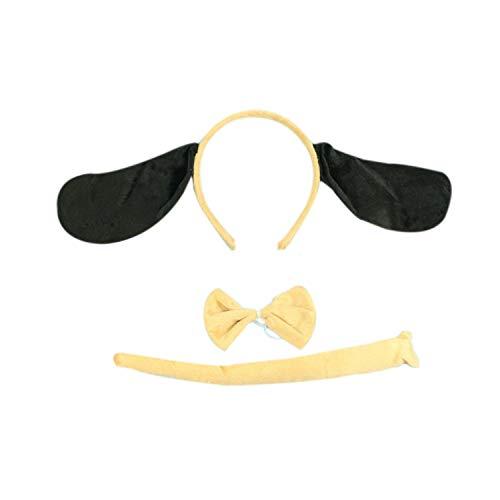 Marlegard 3PCs Funny Dalmatian Milk Leopard Costume Headband Ear with Tail Tie (Cream Dog)