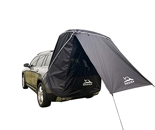 Tailgate Shade Awning Tent for Car Travel Small to Mid Size SUV Waterproof 3000MM Black (Small)