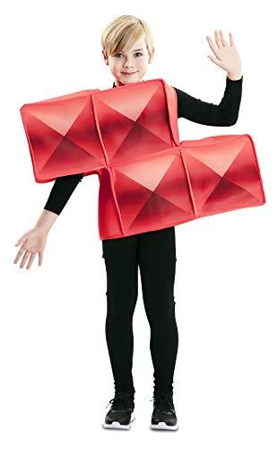 EUROCARNAVALES Disfraz de Tetris Rojo Infantil 7 a 9 años