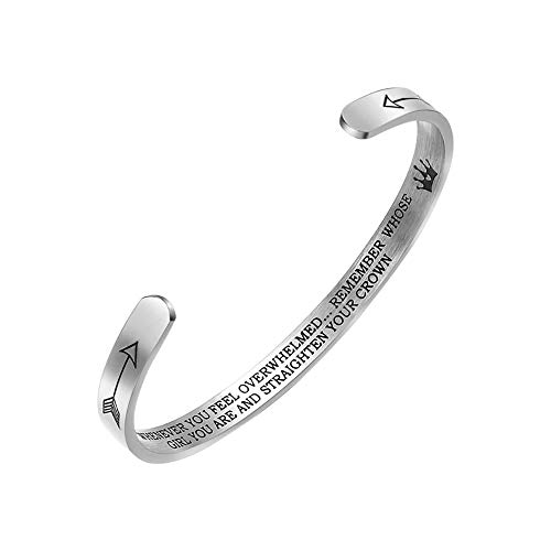 Jeracol - Braccialetto dell'amicizia da donna, con scritta 'Remember Whose Girl You are and Straight Your Corona', in acciaio INOX, idea regalo per la migliore amica, sorella