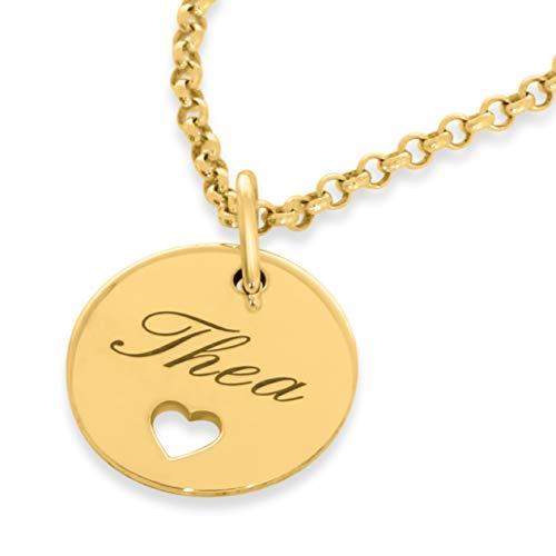 Goldkette mit Gravur 925 Silber Kette Namenskette mit Herz ❤️ Echtschmuck ❤️ moderne Kette mit Gravur Geburt Taufe Einschulung personalisiert | HANDMADE IN GERMANY