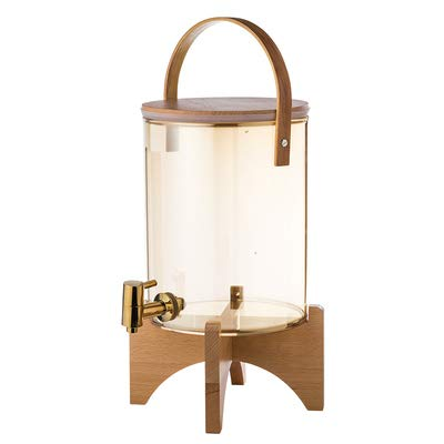 Glass Drink Dispenserwith Stand, with Airtight Bamboo Lid and Stainless Steel Spigot, BPA-Free...